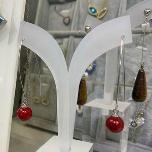 Natural Coral Bead dandling earrings